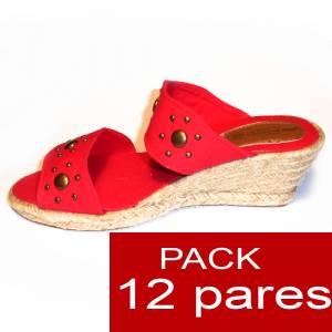 Mujer Plataforma o Tacón - Valenciana tacón Abierta Roja con Remaches - caja de 12 pares Y104511 (Últimas Unidades)