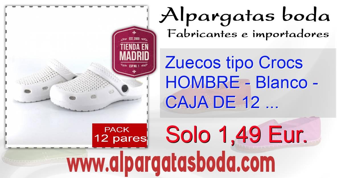 Zuecos tipo Crocs HOMBRE , Blanco , CAJA DE 12 UDS (Últimas .