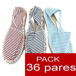 Mujer Cerradas - Alpargatas cerradas 3 colores marineras (tallaje 2) - rayas finas (TIENDA) caja 36 pares (Últimas Unidades)